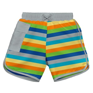 i play. Mix & Match Pocket Board Shorts w/Built-in Reusable Absorbent Swim Diaper-Grey Multistripe