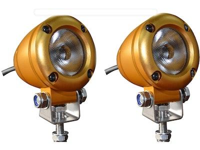2 x 2 inch 1080 lm 10 watt Gold XML-T6 CREE LED Aluminium 45° Flood Light Bundle