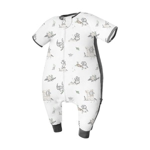 Domiamia  Silky Bamboo Cotton Short Sleeve Sleepsuit with Stretchy Side Panel -  Bird Time (0.23 Tog)