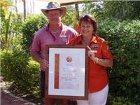 Gayle and Don nail Outback Qld Tourism Caravan Park Award with big value adds