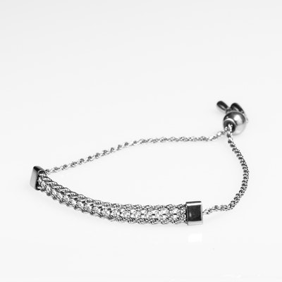 I Dream of Silver Black Tennis Bracelet with Knotted Chain Link