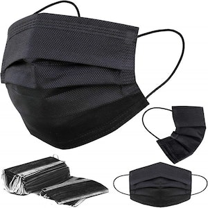 Werkomed - Surgical - Black Face Mask - 3 Ply - With Earloops (50 Pack)