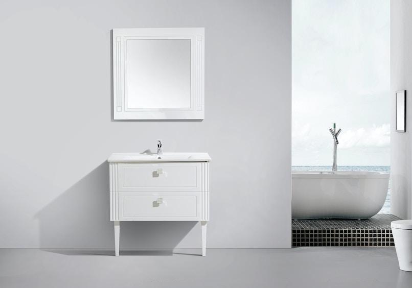 Belbagno floor vanity atria de luxe 1000m pre built for Premade bathroom vanities
