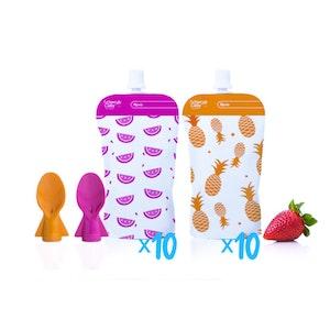 Reusable Food Pouch Mini's 20pk + Food Pouch Spoons 2pk Pink Orange