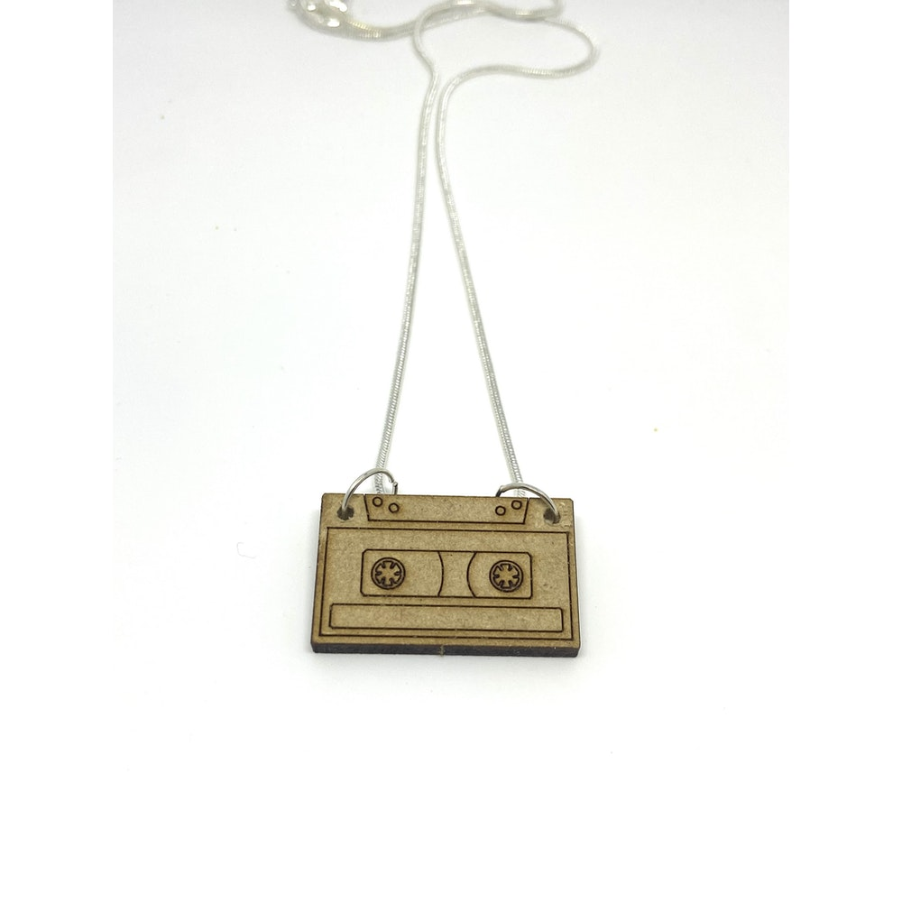 One of a Kind Club Wood Cassette Necklace