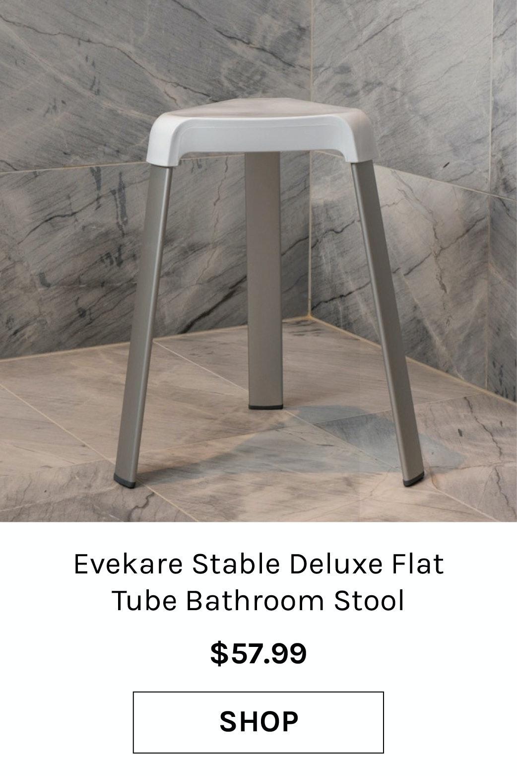 Evekare Stable Deluxe Flat Tube Bathroom Stool Shower Seating Three-Legged White
