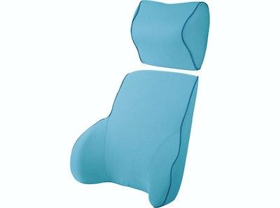 Memory Foam Lumbar Back & Neck Pillow Support Cushion | Blue