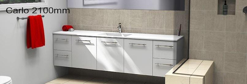 Timberline carlo 2100mm wall hung vanity pre built for Premade bathroom vanities