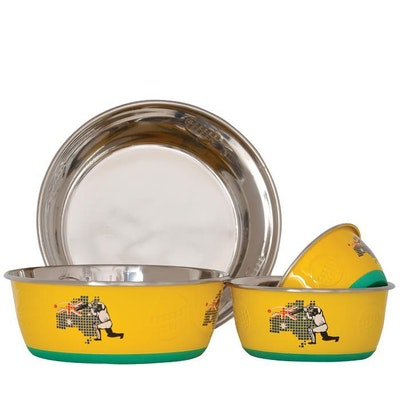 Zeez Sports Collection Cricket Stainless Steel Dog Bowls - 4 Sizes