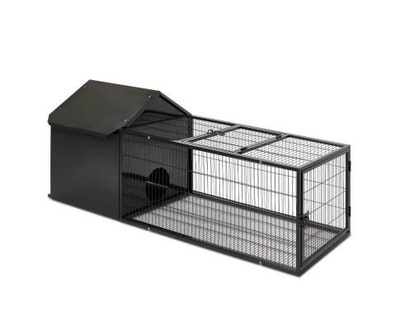 House of Pets Delight Hutch with Run in Midnight Black