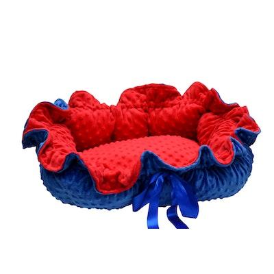Mariska Hand Made Pet Beds Blue & Red Fleece