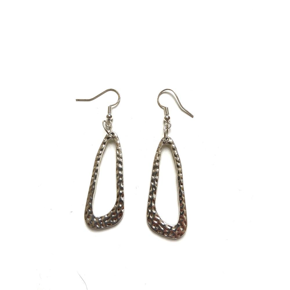 One of a Kind Club Silver Textured Loop Earrings