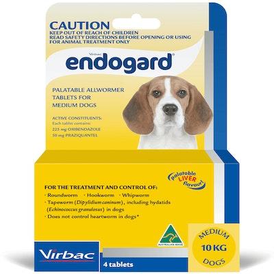 Virbac Endogard Broadspectrum All-Wormer Tablets for Medium Dogs 5-10kg 4 Pack