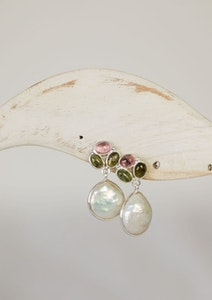 baroque pearl drop on  st silver 3 tourmaline stud