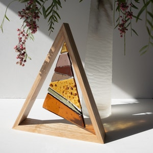 Table-top ornament | Glass Christmas tree in wooden triangular frame