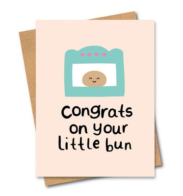 SOUL Self Care  Friends of Henry Paper Co Designer Quirky Gift Cards - CONGRATS ON YOUR LITTLE BUN 2021