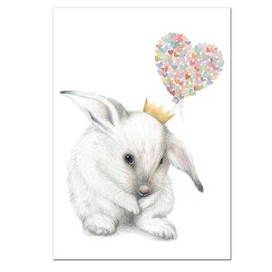 'Big Love' - Heart Bunny Print - A4