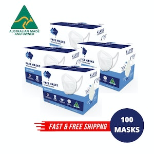 4-Ply Disposable Protective Face Masks - 100 Pack