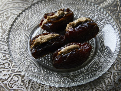 Medjool Dates with coffee, fig and sesame labne