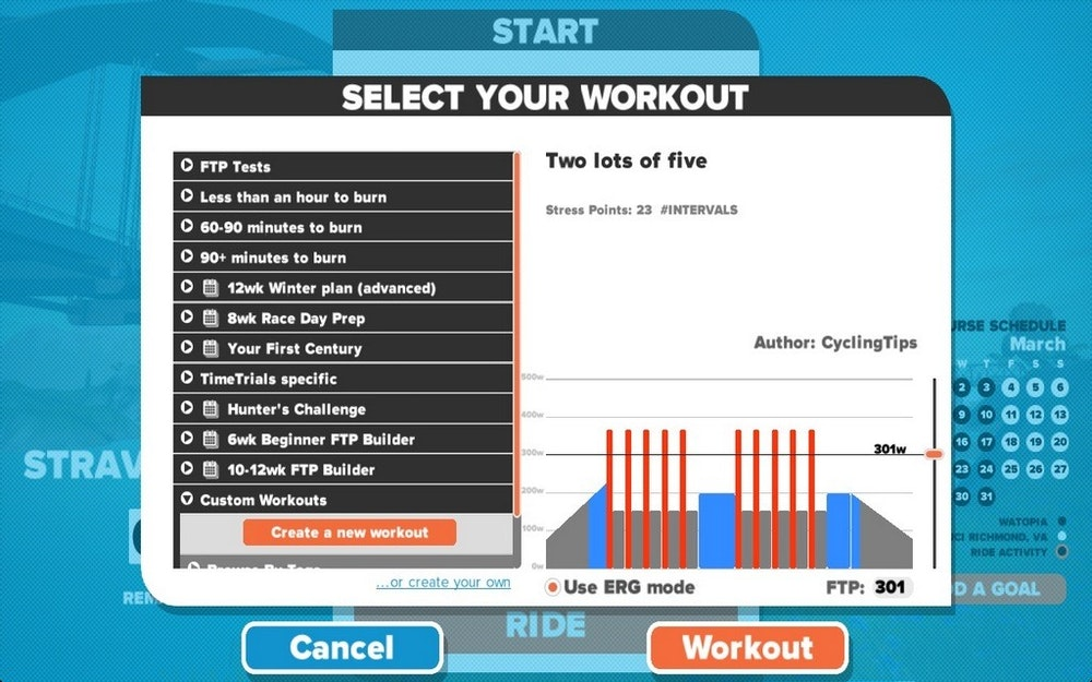 Zwift custom workout 2