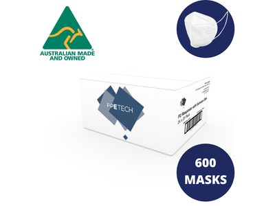 PPE Tech 600 (24x25pk) P2 Face Masks Australian Made (Equiv. N95/KN95/FFP2)