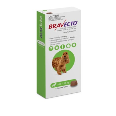 BRAVECTO Green Chew 10-20Kg Dog 6 Month Pack