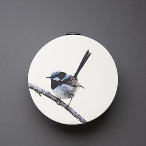 Blue Wren Circular Wall Vase