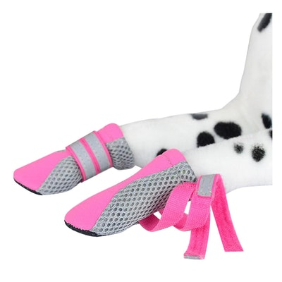 Zeez Dog Fashion Mesh Boots Non-Slip Sole Dog Boots Pink - 4 Sizes