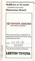 40,000km service record on Toyota ute
