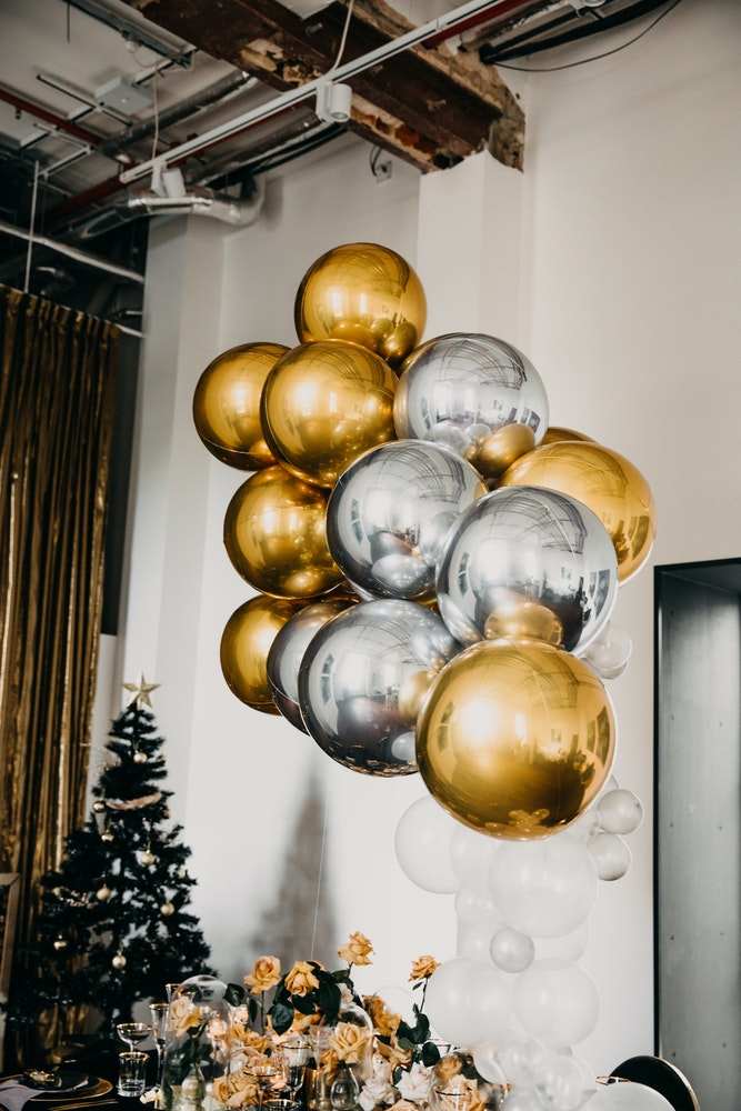 Floating Gold Balloon Co Installation