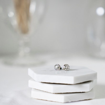 I Dream of Silver Small Coloured Stud Earrings