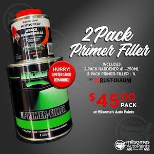 Motospray 2 Pack Primer Filler Kit - Hardener & Primer Filler