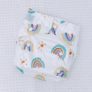 On Chic Baby Clothes Modern Cloth Nappy - Pastel Rainbow
