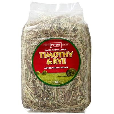 Peters Timothy and Rye Premium Grass Hay Small Animal Food 1kg
