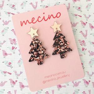 Oh Christmas Tree - Rose Gold Christmas Acrylic Earrings