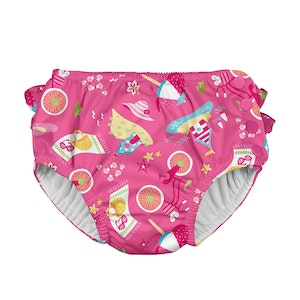 i play. Mix & Match Ruffle Snap Reusable Absorbent Swimsuit Diaper-Hot Pink Cabana
