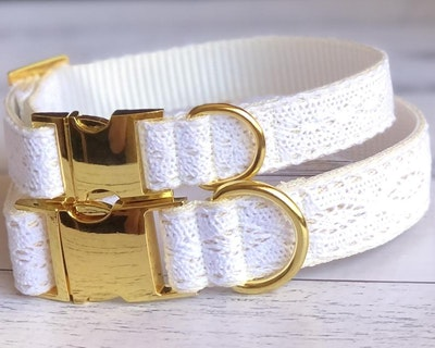 Cedarwood and Ash Handmade Boho Wedding/Special Occasion Dog Collar with Gold Buckle (this collar is also available with a white buckle in a separate isting)