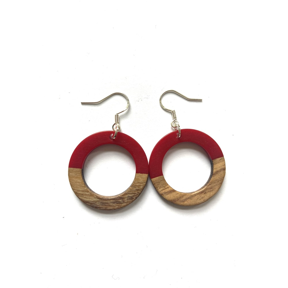 One of a Kind Club Red And Wood Circle Edge Earrings