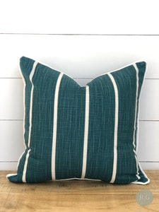 Outdoor Cushion Cover - Teal Stripe with white piping