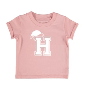 Personalised Varsity Santa Hat Tee - Blush Pink