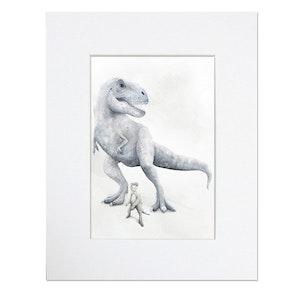 Trex Dinosaur Print - Mounted in 20cm x 25cm Mount