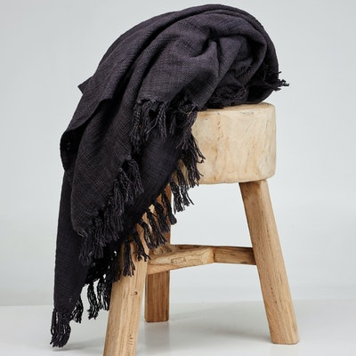 Global Sisters Shop Soft Khadi Tassel Throw - Black