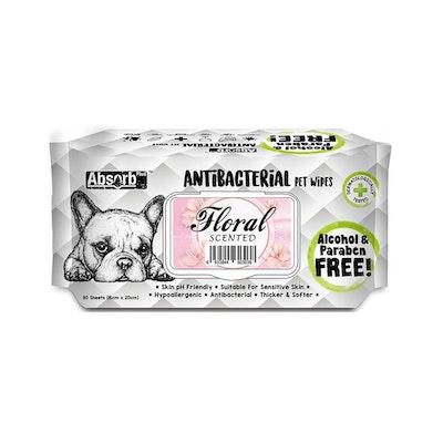 ABSORB PLUS Antibacterial Pet Wipes Flora 80 Sheets 20X15Cm