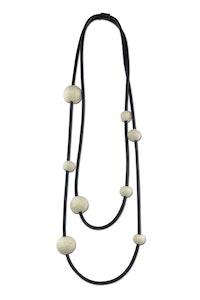 8 medium felt bead, long necklace