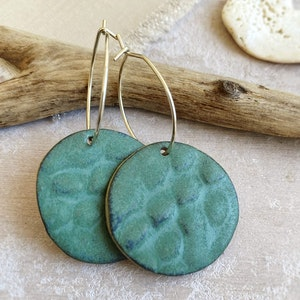 Oceanic Blue Green Textured Hoop Earrings