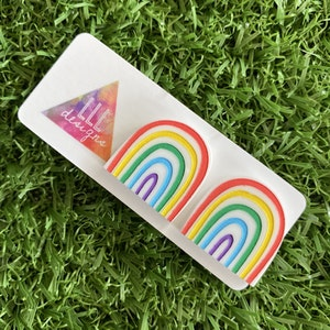 Rainbow Earrings - Hand Painted Acrylic Classic Rainbow Statement Stud Earrings - A Classic Rainbow that is sure to bring a smile to your face :)