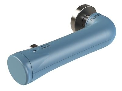 """Purehold """"Antibacterial"""" lever handle clip on cover which fits a range of levers with a return handle in Ice Blue"""