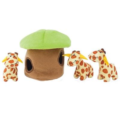 Zippy Paws Burrow Giraffe Lodge Plush Dog Squeaker Toy 20 x 17 x 17cm