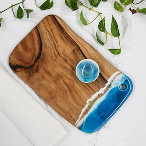 Lagoon Resin Cheese Board with Bowl - Large