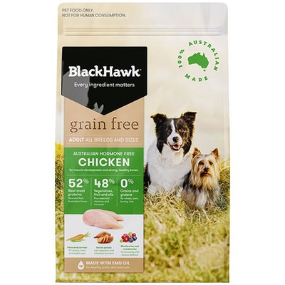 Black Hawk Adult All Breeds Grain Free Dog Food Chicken - 3 Sizes